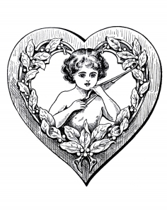 coloring page love vintage