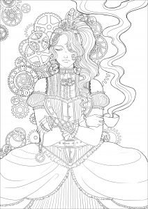 Steampunk woman with coffee