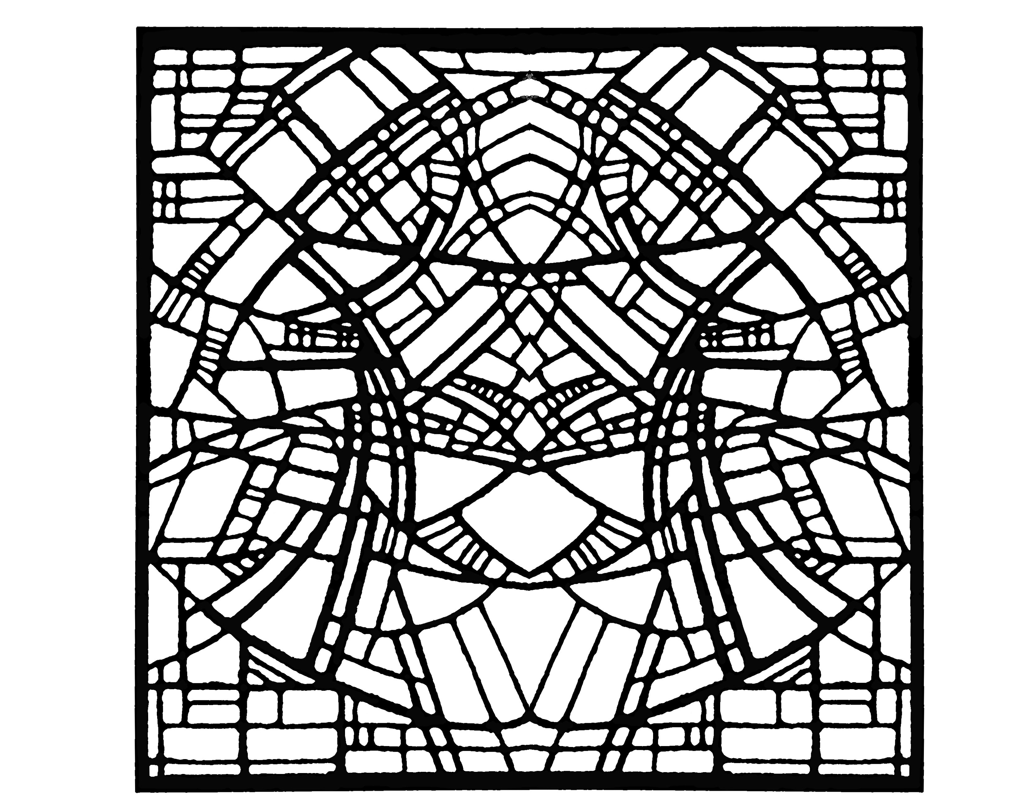 Coloring page made from a modern Stained glass : Church in Belgium, 1986 - Square version
