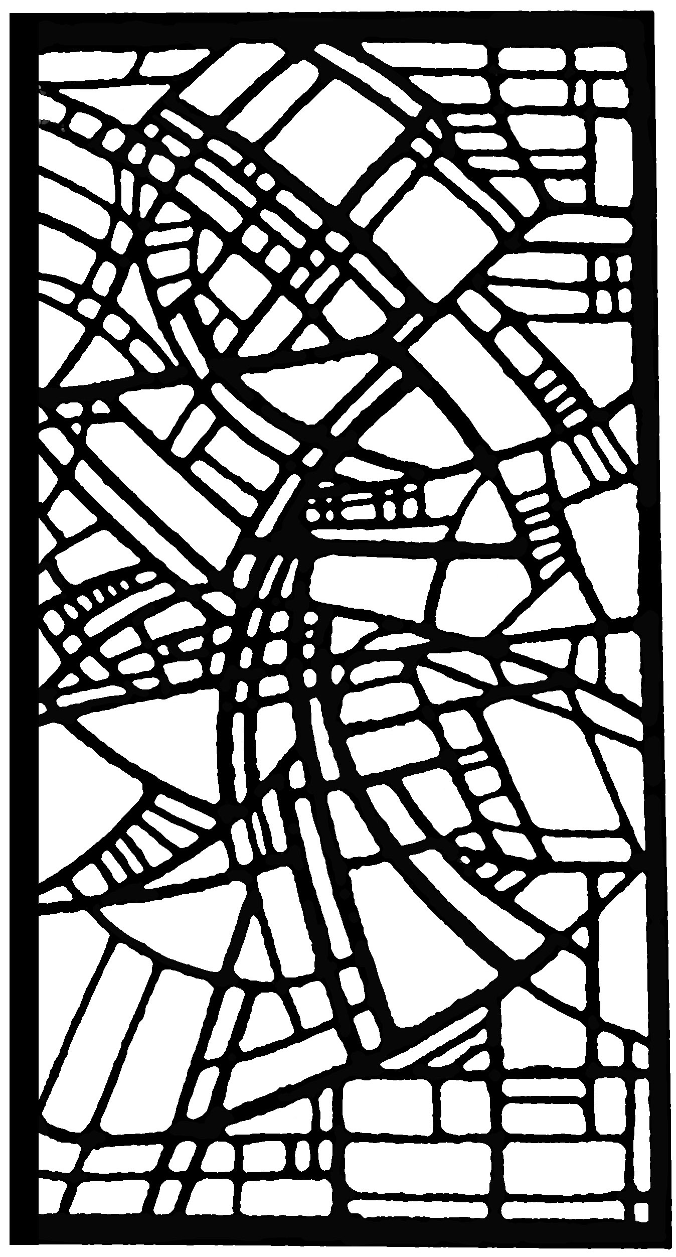 Coloring page made from a modern Stained glass : Church in Belgium, 1986