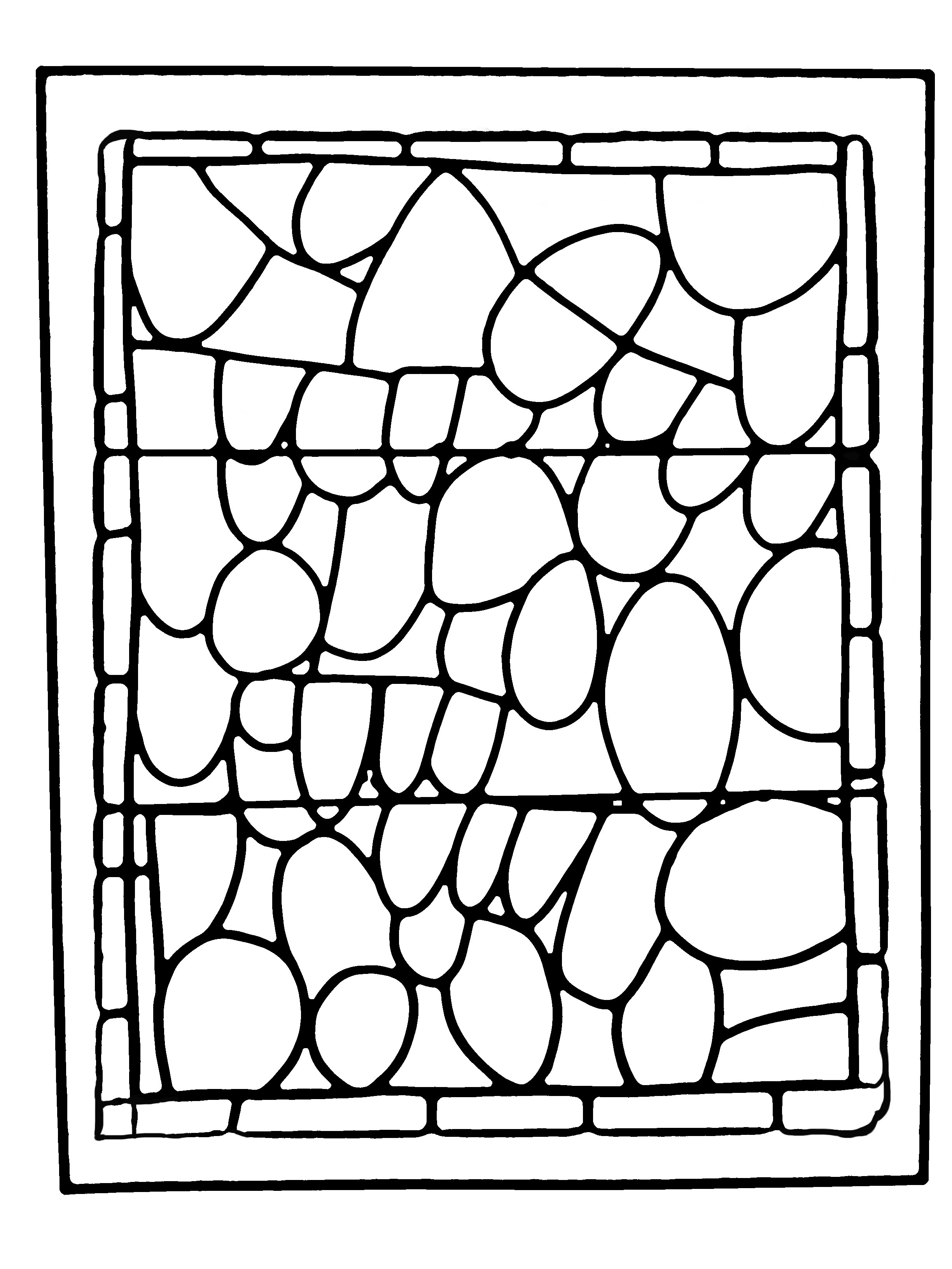Coloring page made from a modern Stained glass : Chapel of Prieuré de Bethleem, Nîmes, France