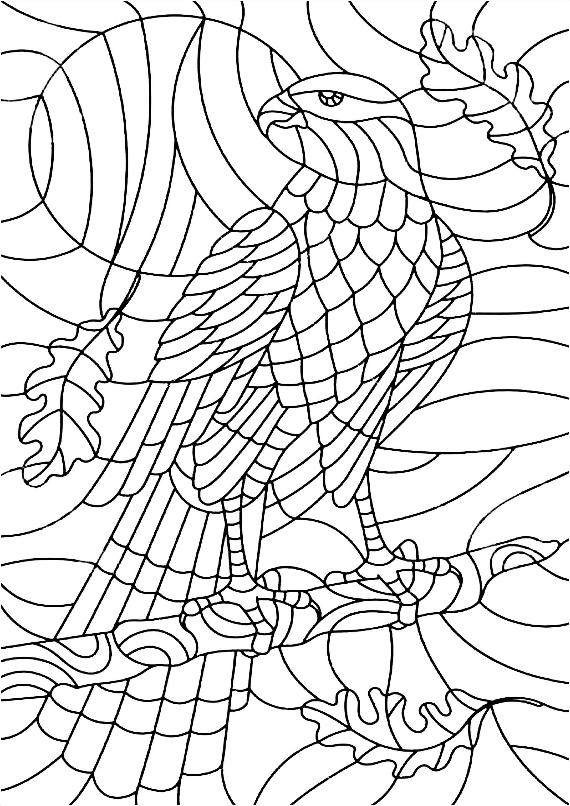Beautiful coloring page of an eagle, represented as it it was a stained glass