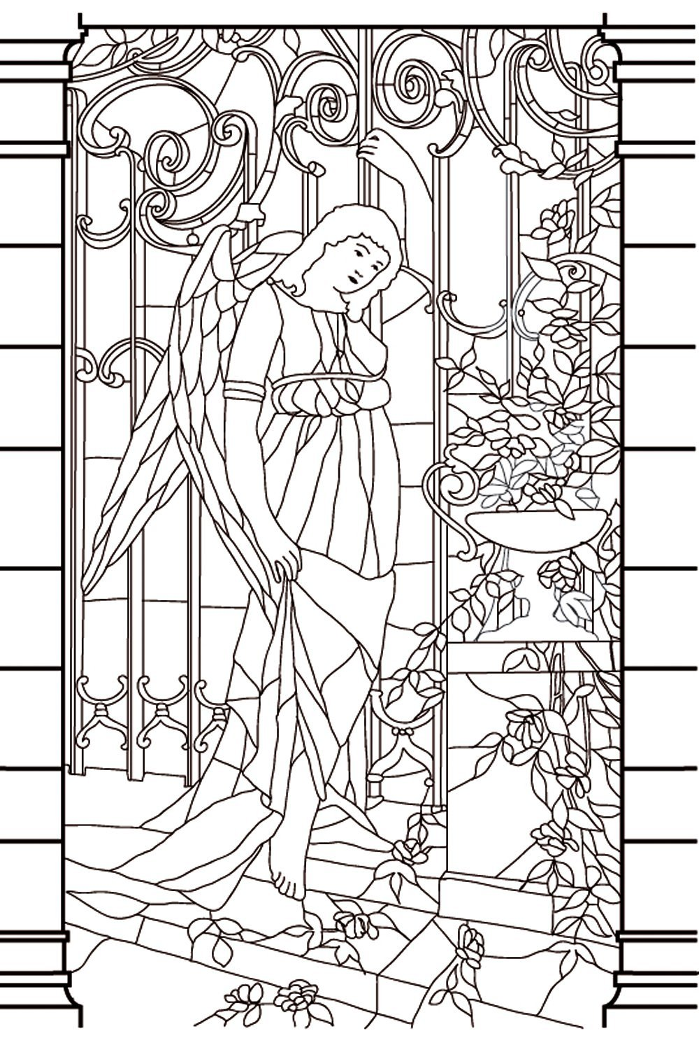 Middle Age Stained Glass Stained Glass Adult Coloring Pages