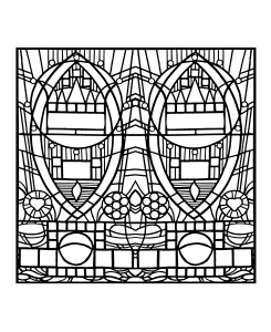 Coloring adult stained glass de l apparition bleue edegem square version