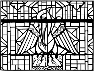 coloring-adult-stained-glass-pelican-church-arthon-en-retz-france-20th-complex-version free to print