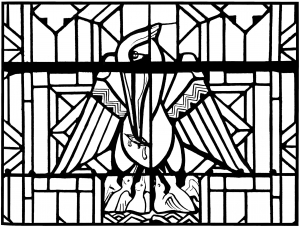 coloring-adult-stained-glass-pelican-church-arthon-en-retz-france-20th free to print