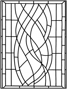 coloring page art deco stained glass madrid 1