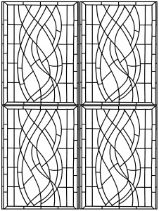 coloring page art deco stained glass madrid 3