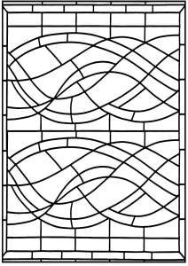 Coloring page art deco stained glass madrid 4