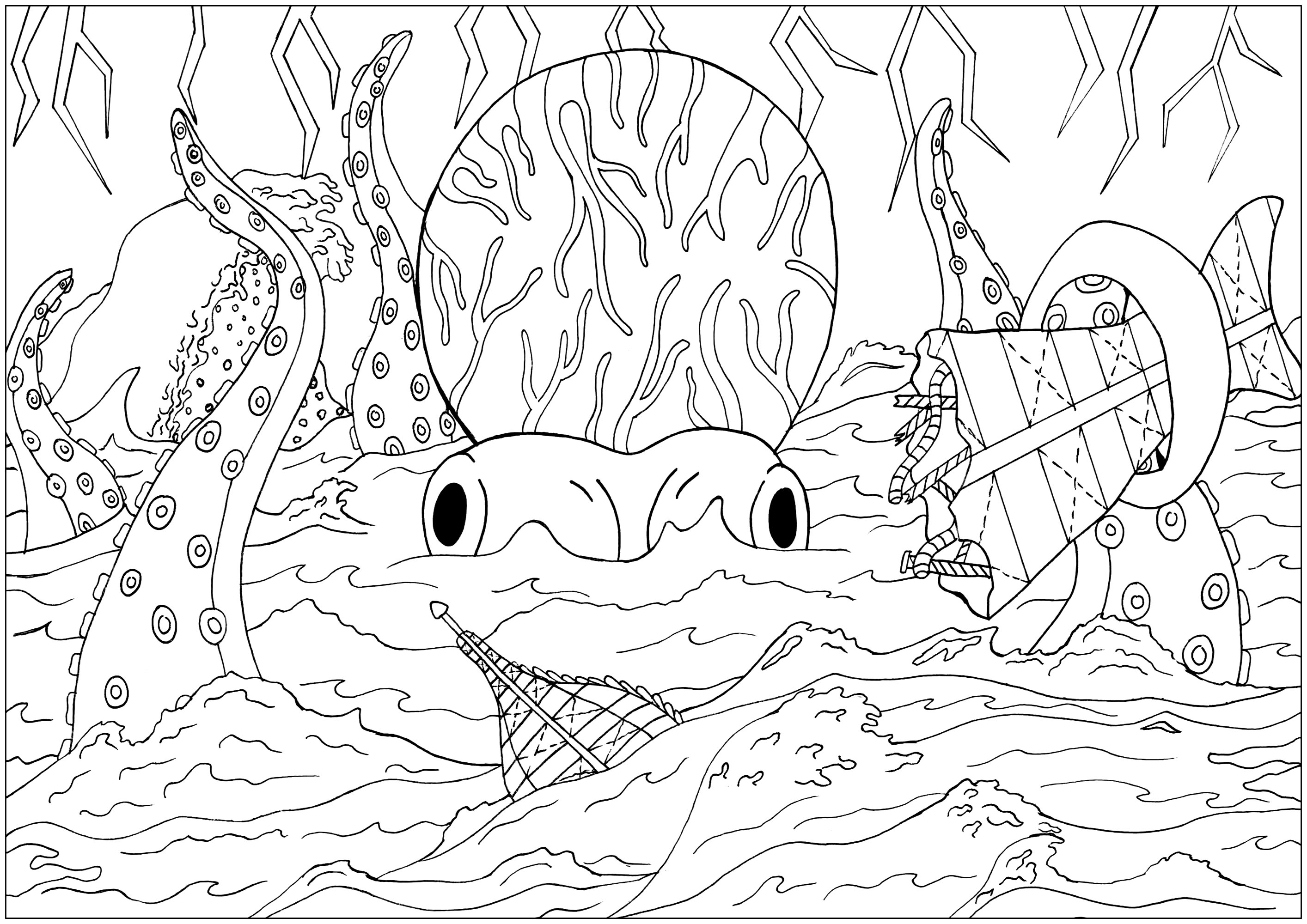 Coloring page inspired by the jules vernes novel 20 000 leagues under the sea