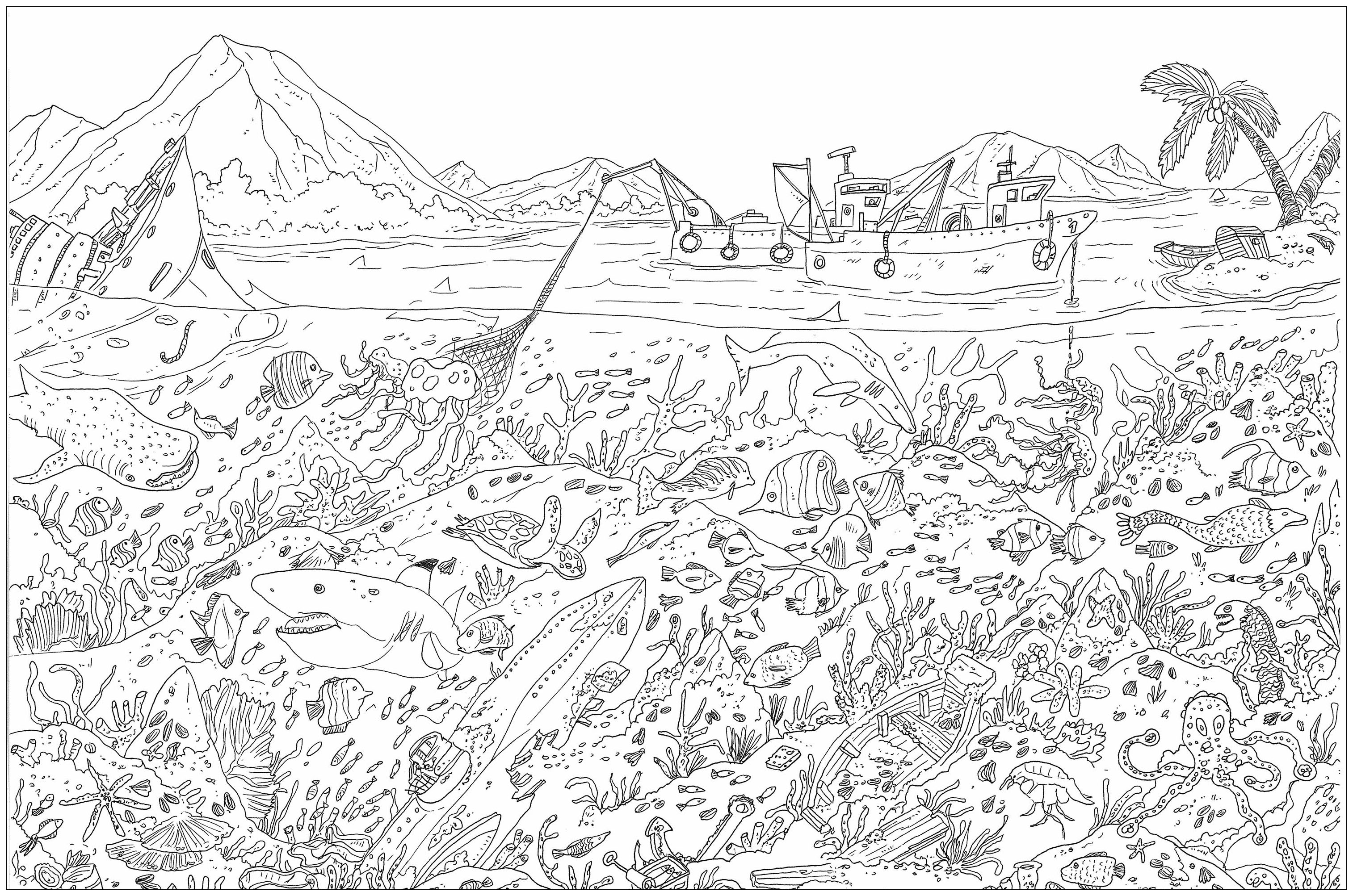 'Sea floor', a complex coloring page, 'Where is Waldo ?' style