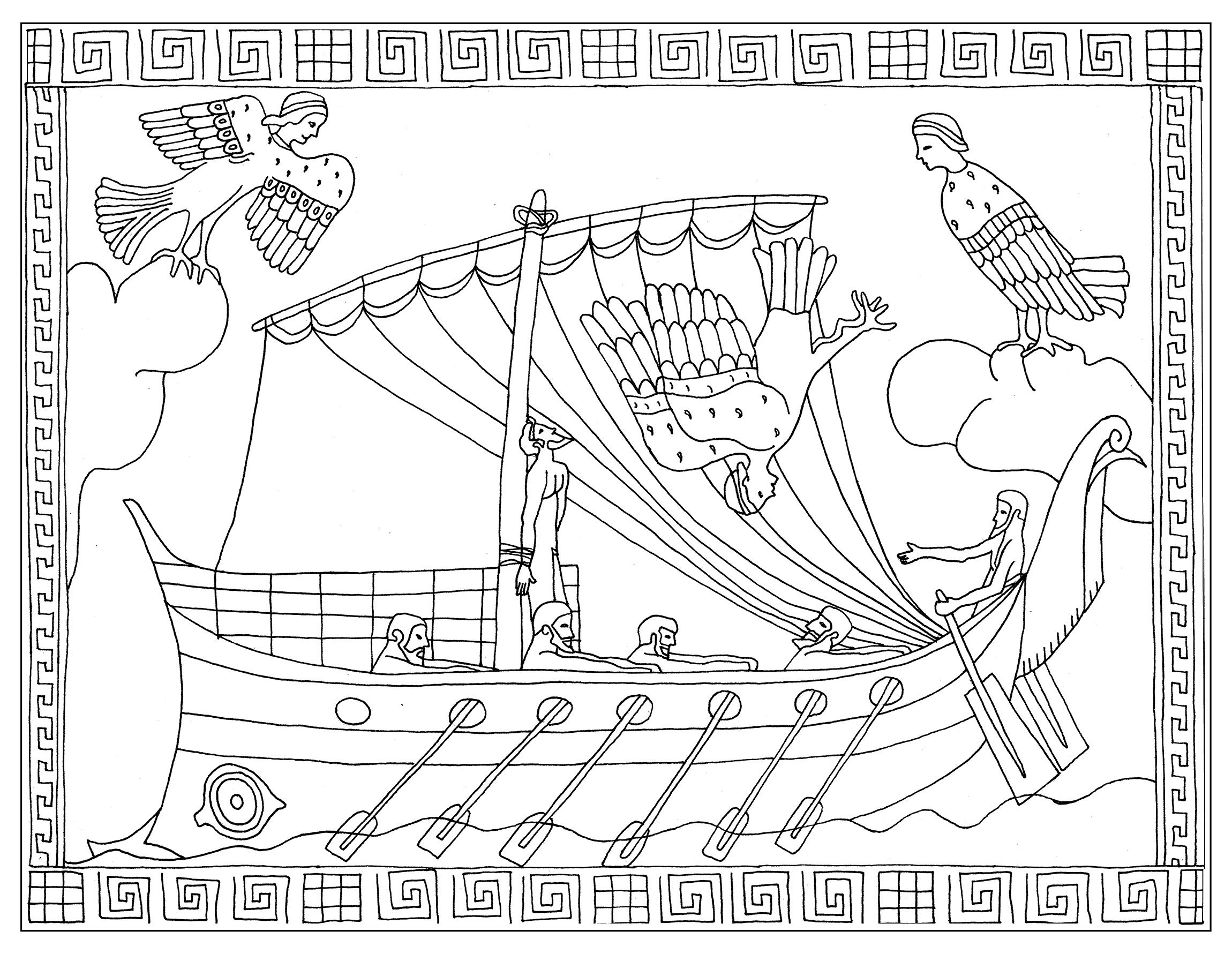 Coloring page inspired by a vase representing the episode of Ulysses and the sirens Stamnos (Homer's Odyssey)