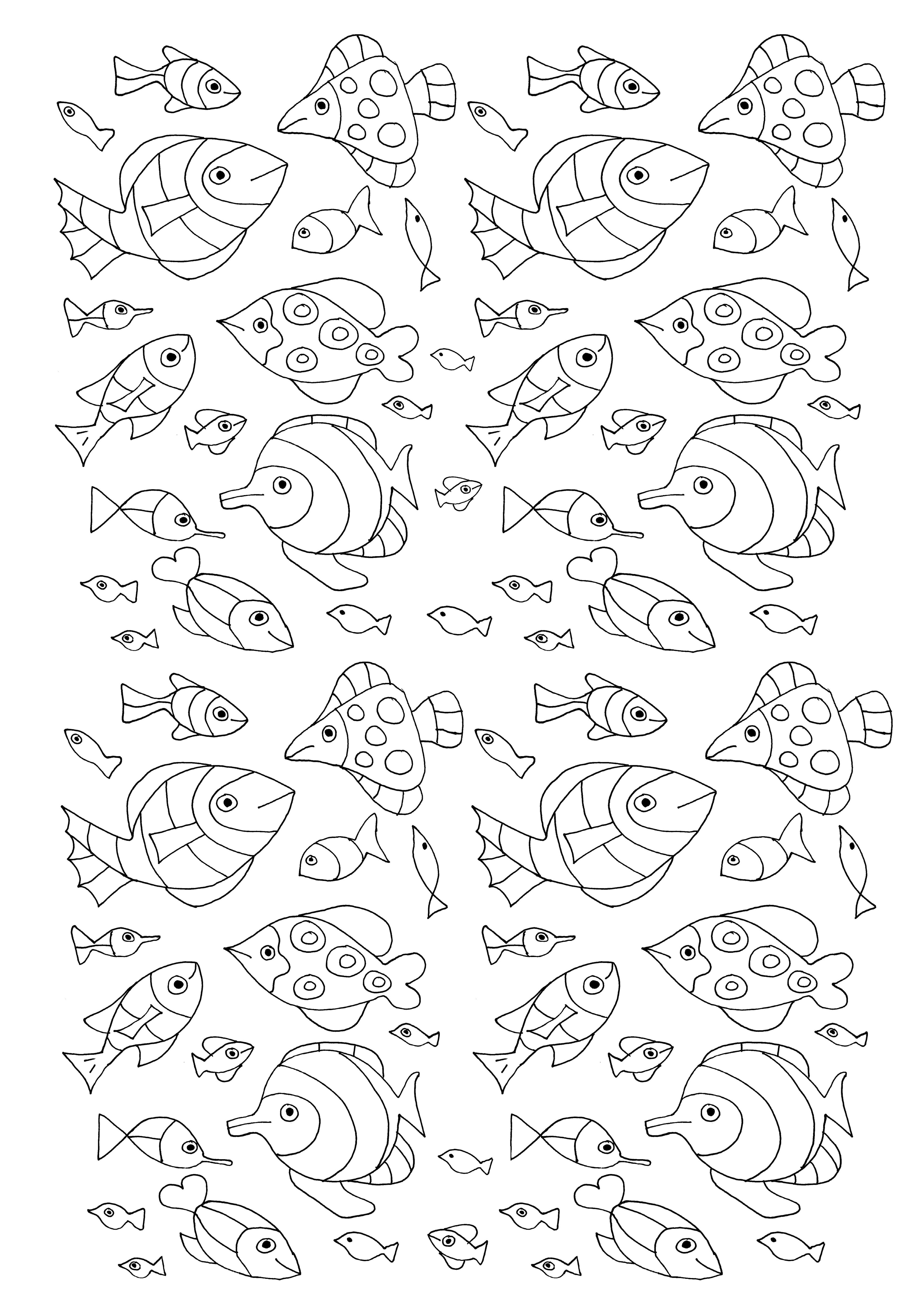 A lot of little fish to print & color