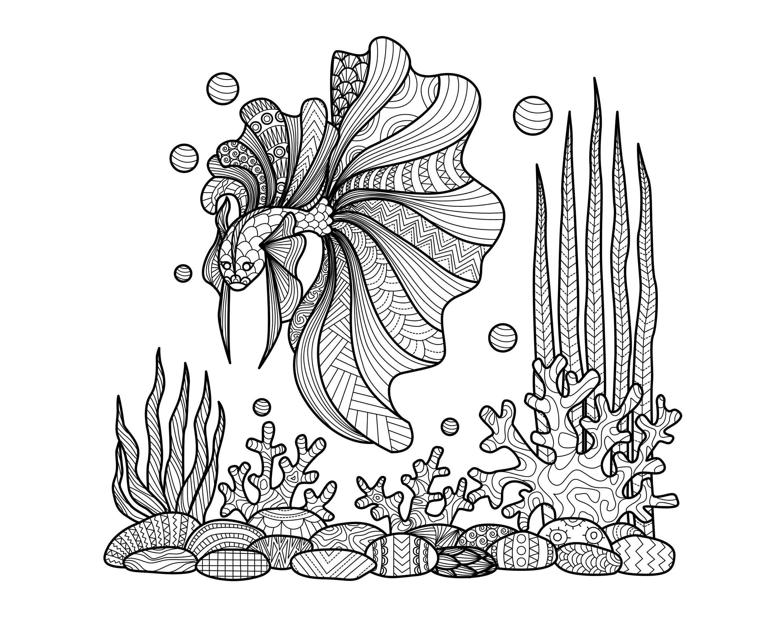Zentangle fish on corals water worlds adult coloring pages - Mandala pour adulte ...