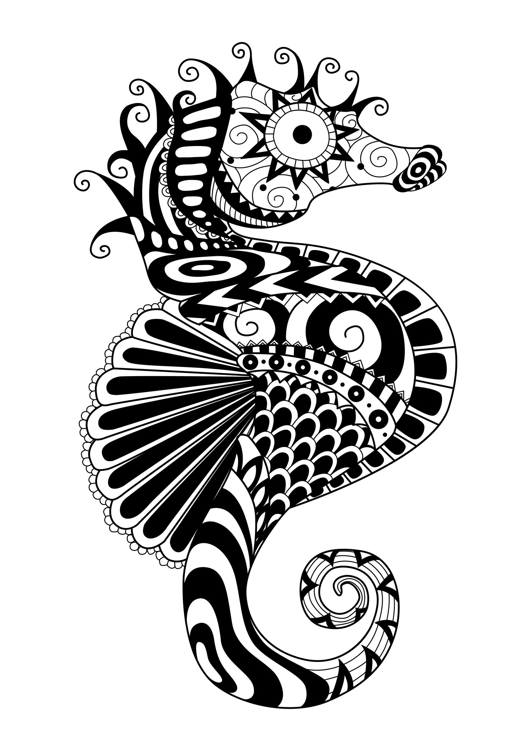 Coloring adult zentangle sea horse by bimdeedee