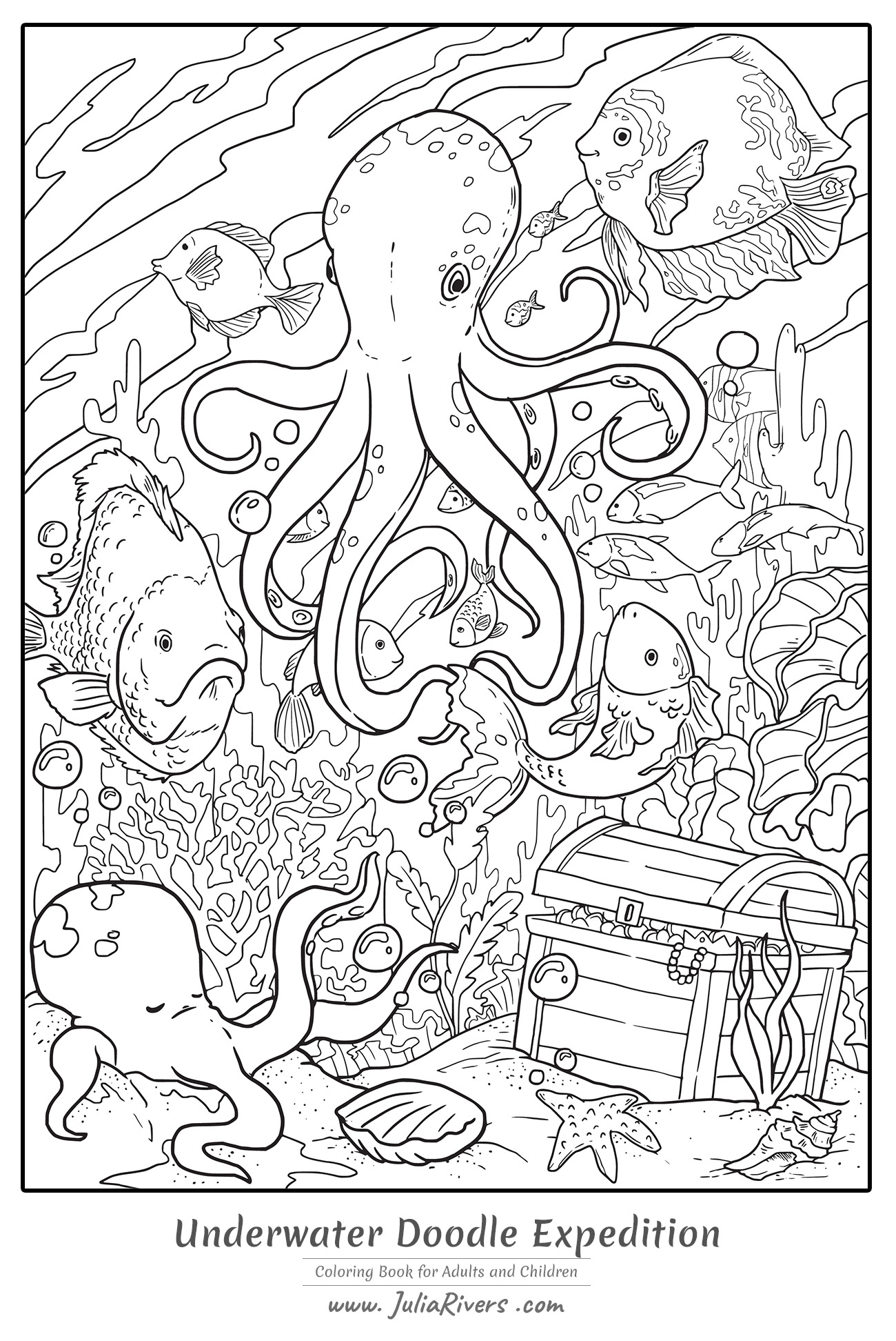 'Underwater Doodle Expedition' : Magnificent coloring page representing a giant Octopus at the bottom of the sea, with fishes, coral and a mysterious treasure
