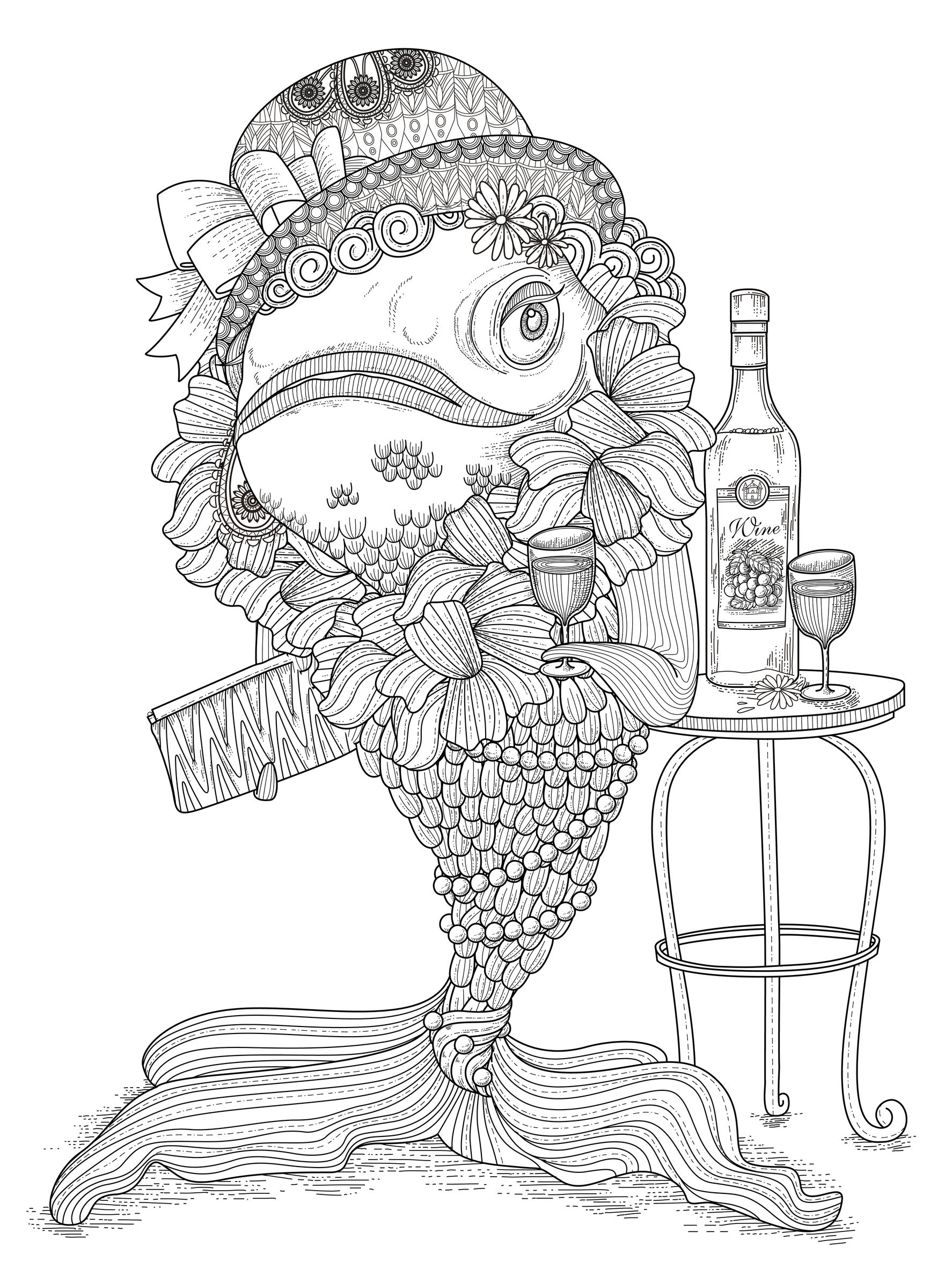 coloring page adults fish humour free to print