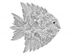 coloring adult zentangle fish by artnataliia