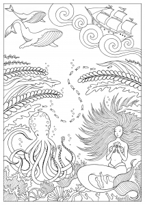 coloring mermaid and octopus konstantinos liaramantzas - Mermaid Coloring Pages For Adults