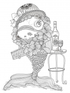 coloring page adults fish humour