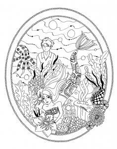 coloring page little mermaid garden by azyrielle