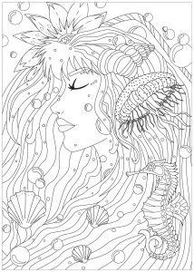 Coloring woman of the seas