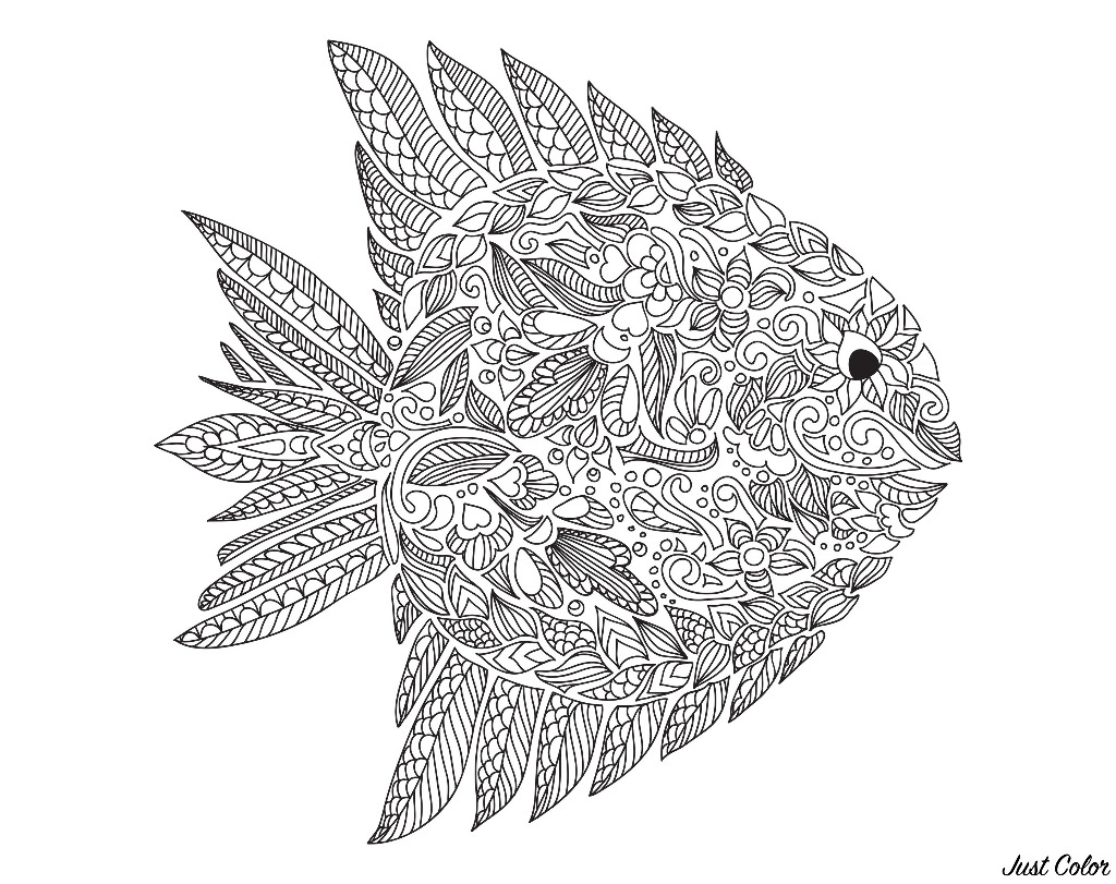 Zentangle fish drawn with various patterns, by Artnatalia
