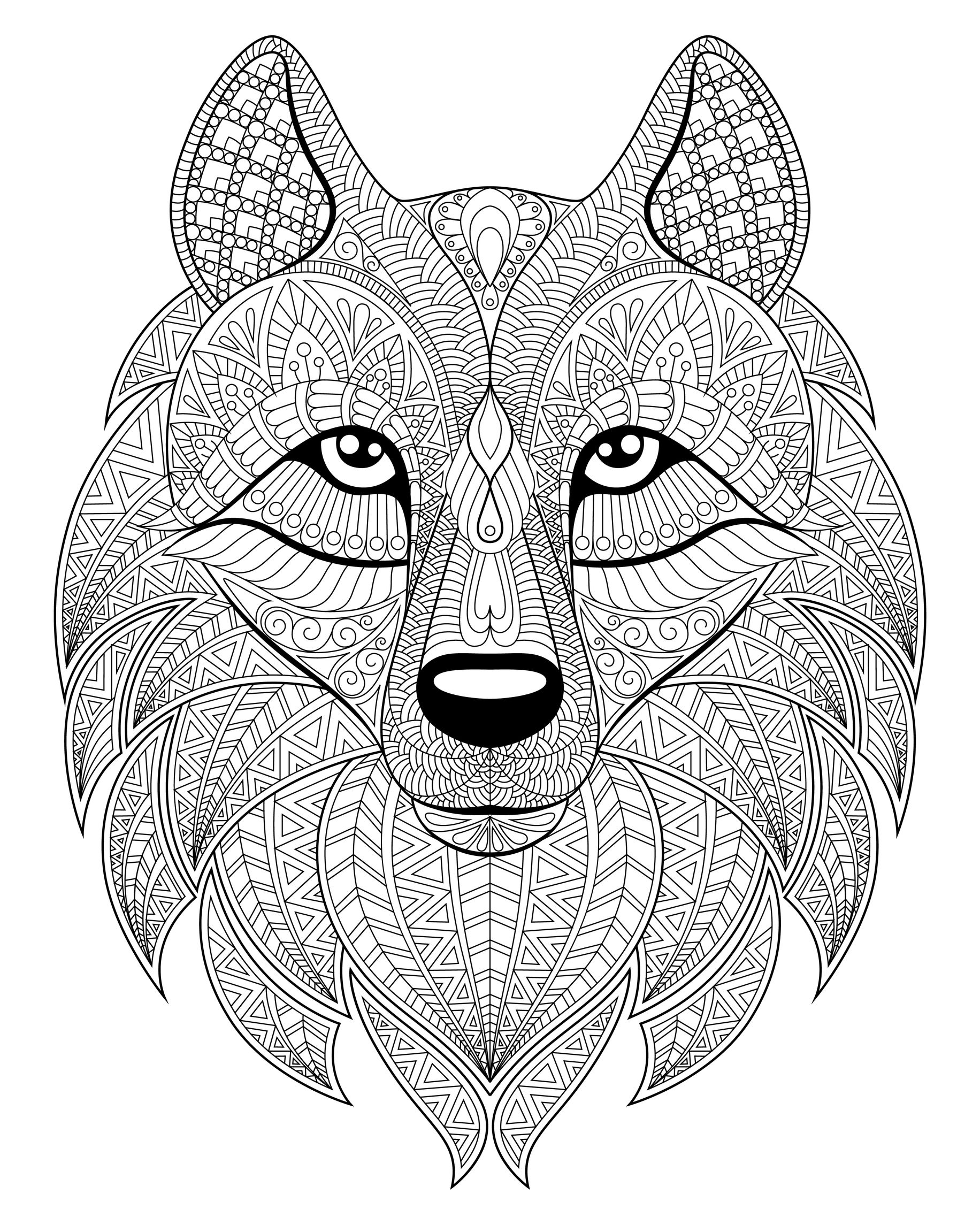 Wolf head plex patterns Wolves Adult Coloring Pages