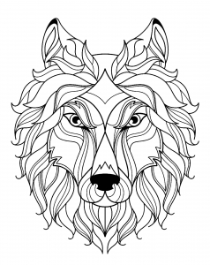 wolf head with simple patterns - Coloring The Pictures