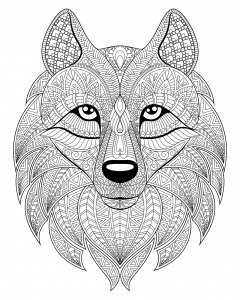 Coloring wolf head complex patterns