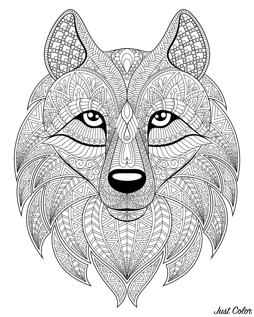 Wolf head, with complex patterns