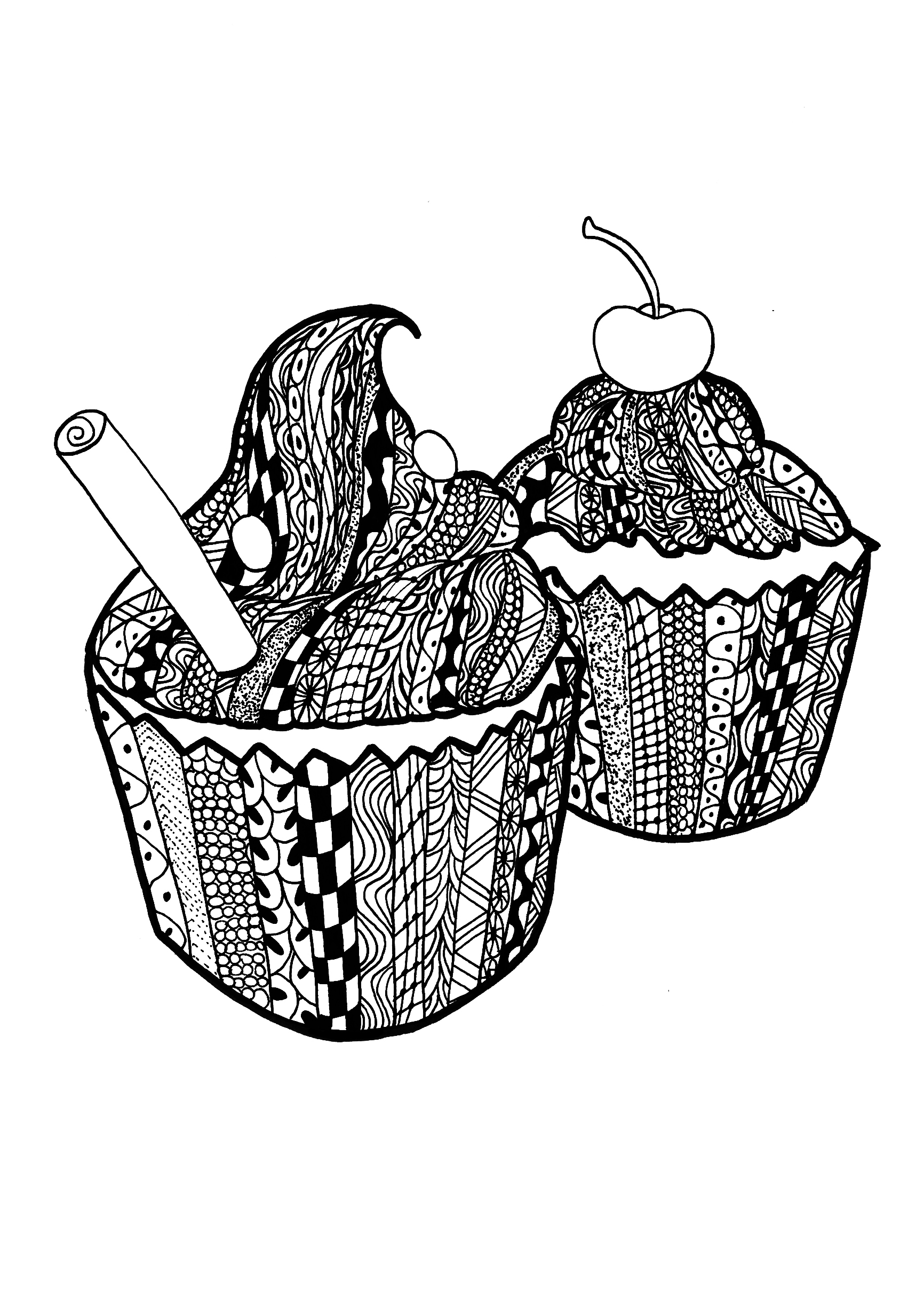 Free printable zentangle coloring pages for adults - Coloring Page Adults Zentangle Cupcakes Celine