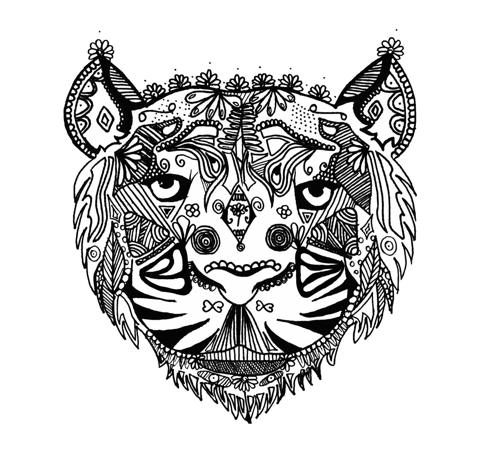 Tiger Zentangle Alice - Zentangle Adult Coloring Pages