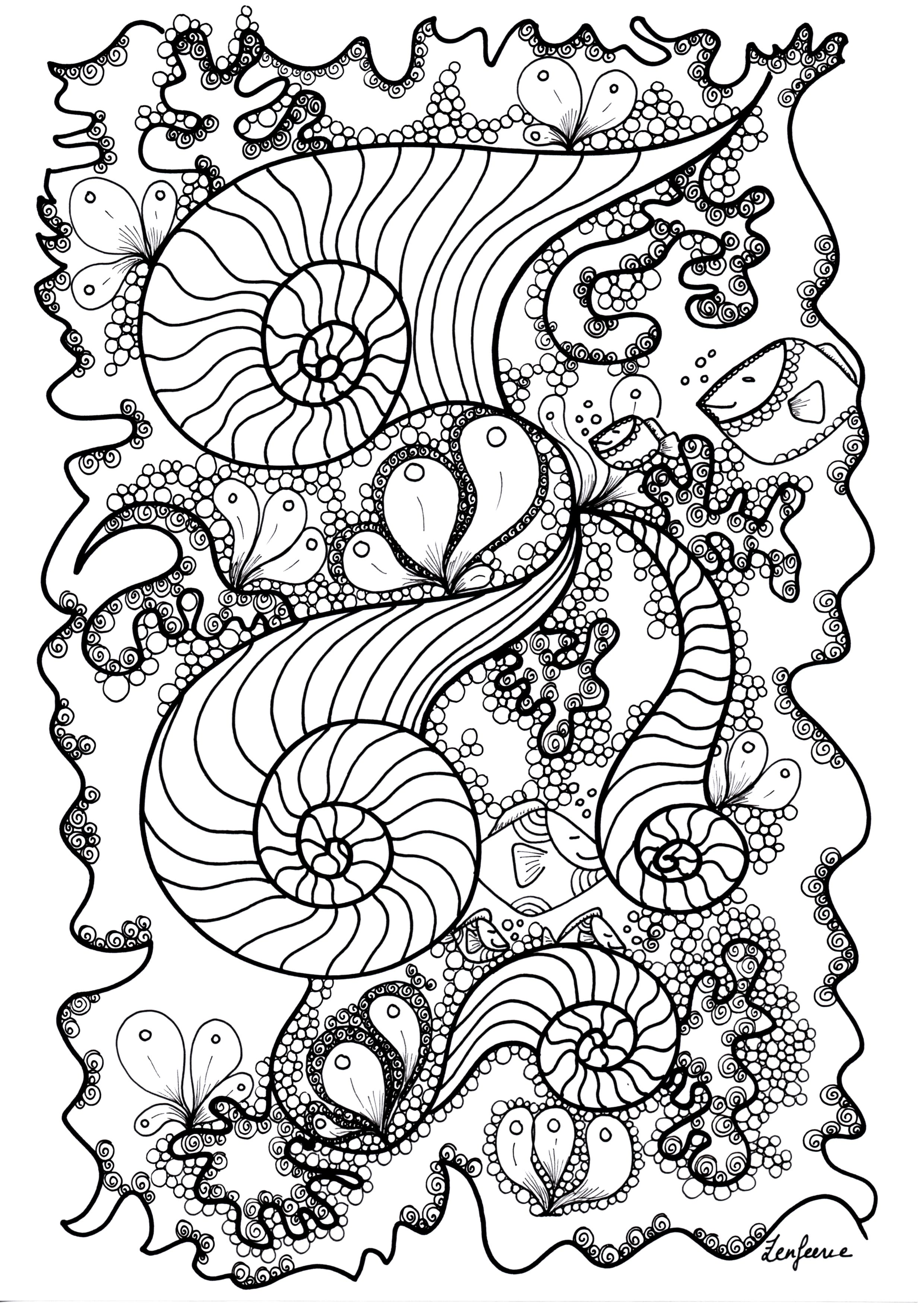 Fishes hidden in a magnificient Zentangle coloring page
