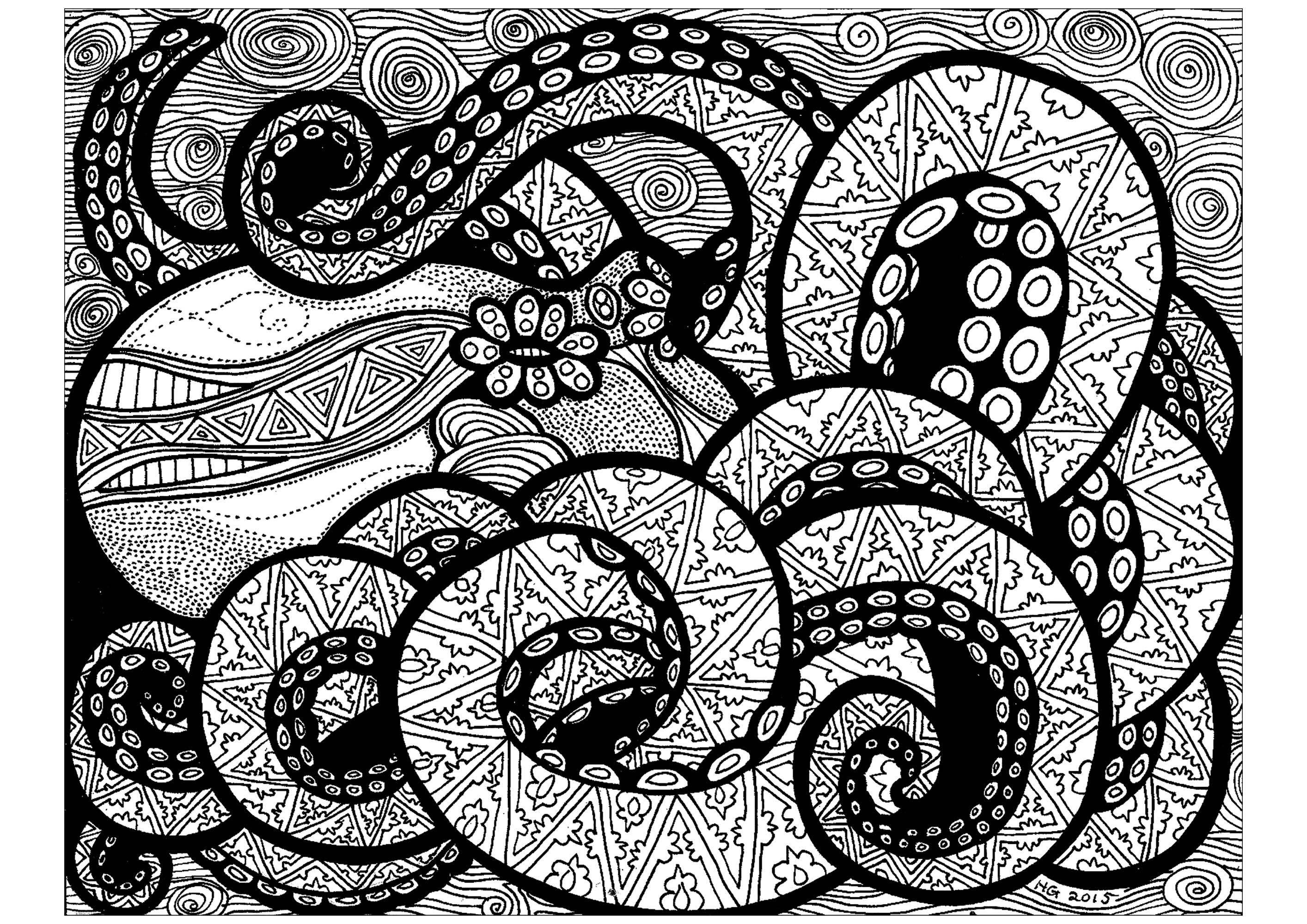 With its many tentacles, this octopus will need you to focus a lot while coloring him !