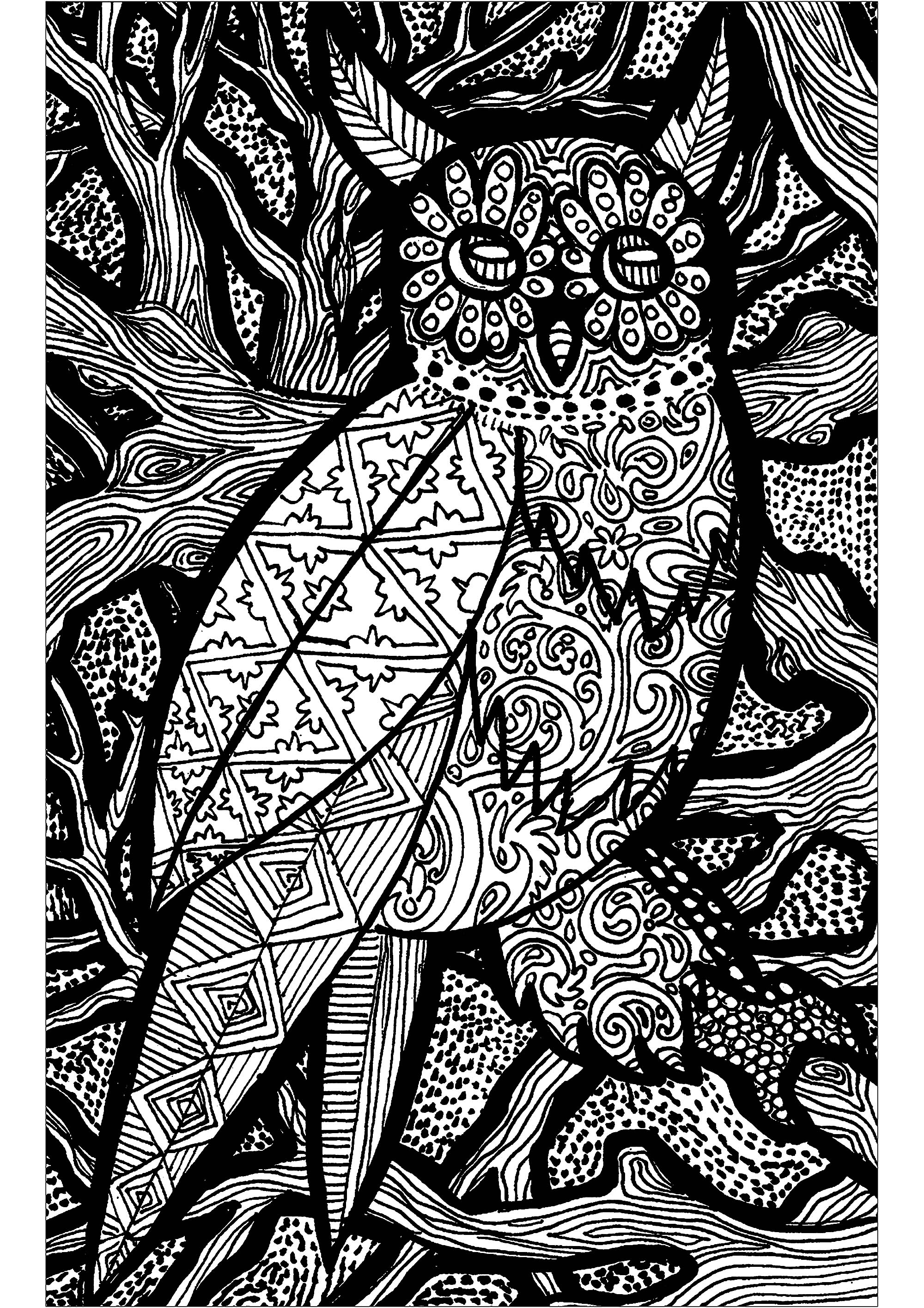 Look at this beautiful owl in its Zentangle forest !