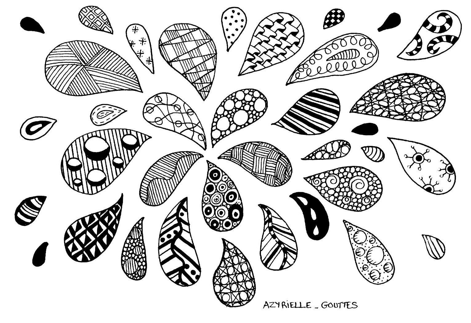Free printable zentangle coloring pages for adults - Zentangle Drops From The Gallery Zentangle Artist Azyrielle Print