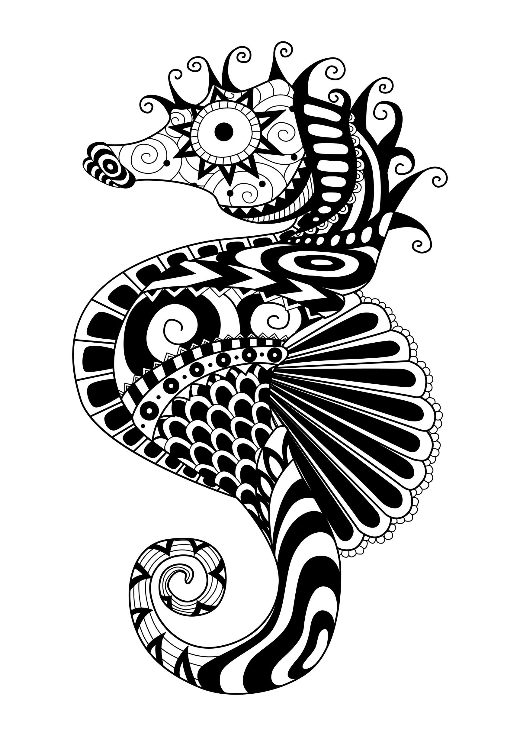 Zentangle sea horse - Zentangle Adult Coloring Pages - Page 2