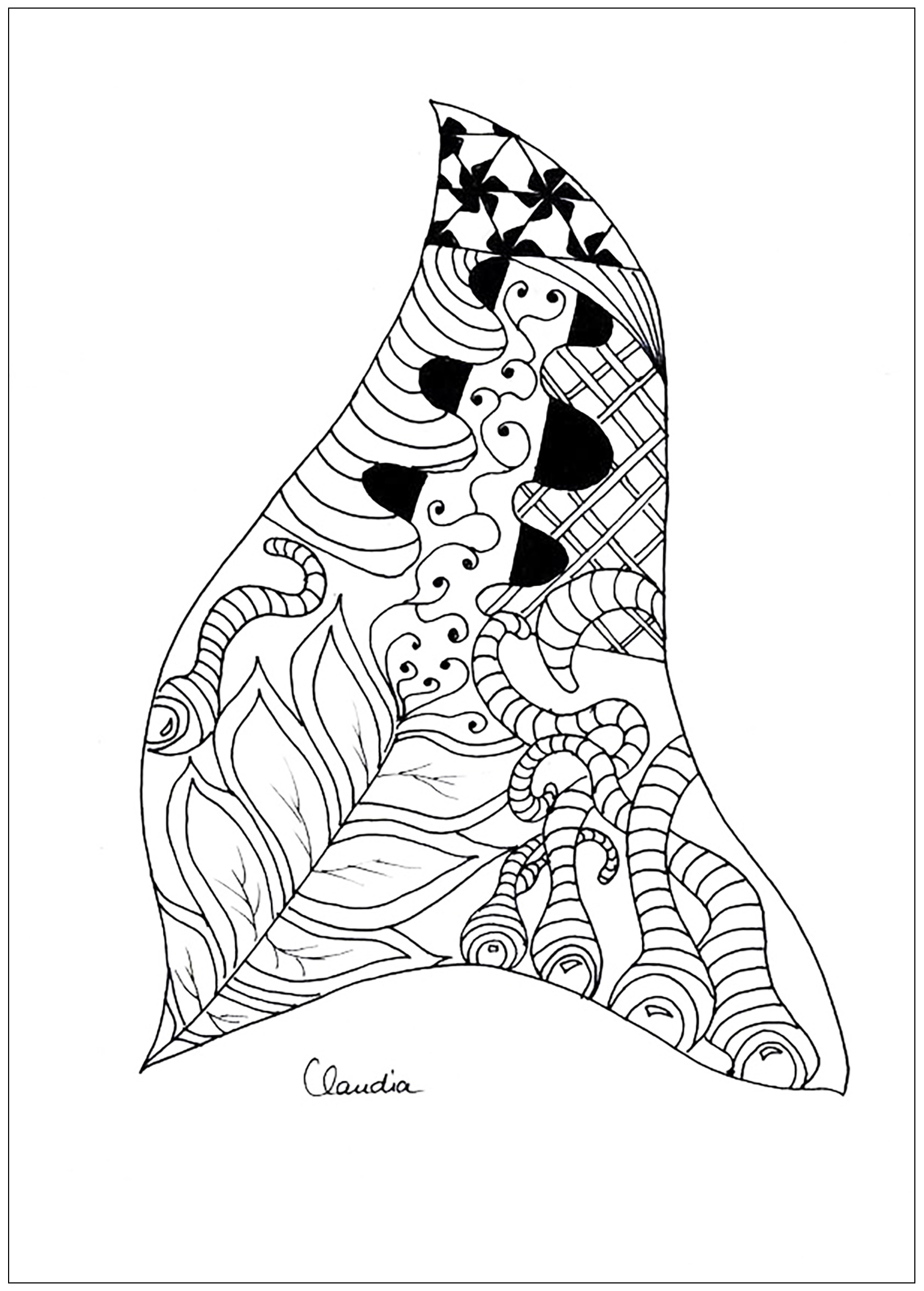 Simple Zentangle drawing to print & color - 2