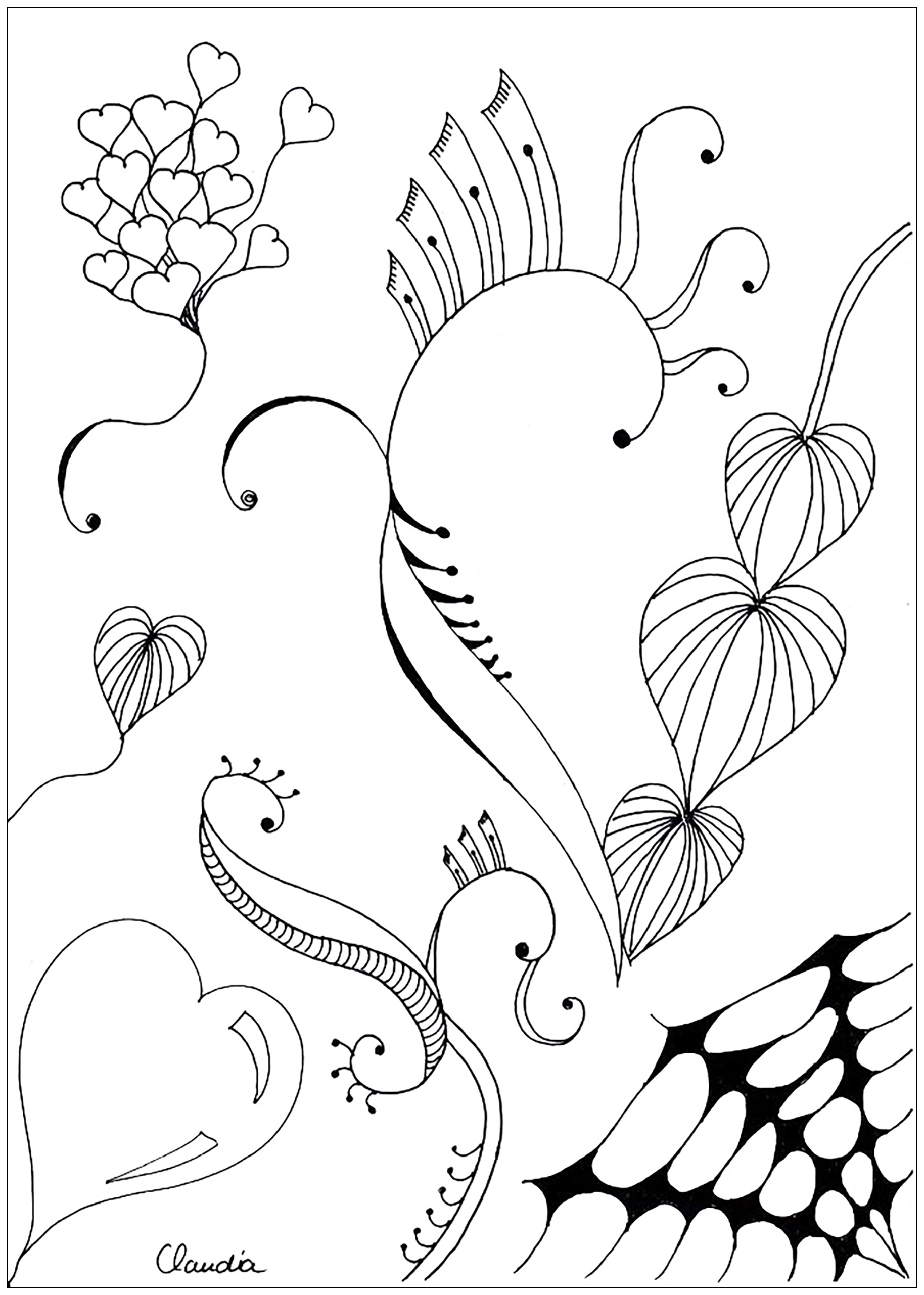Coloring pages zentangle - Coloring Adult Zentangle Simple By Claudia 3 Free To Print