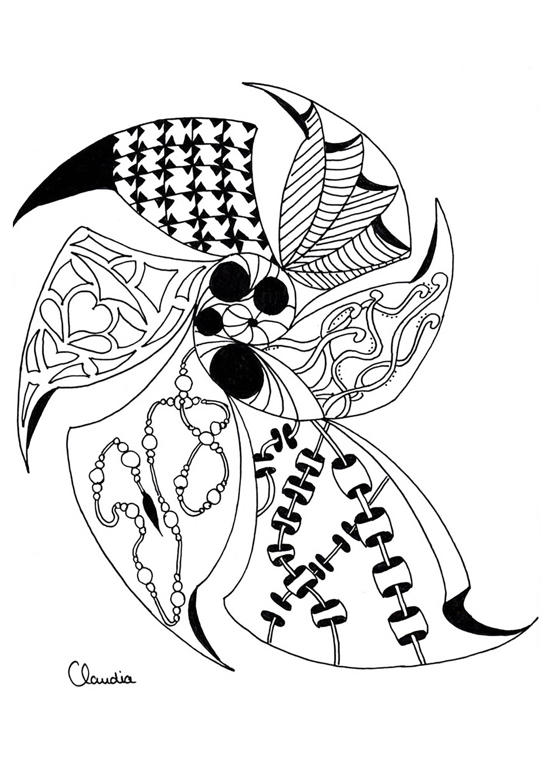 Zentangle simple - Zentangle Adult Coloring Pages