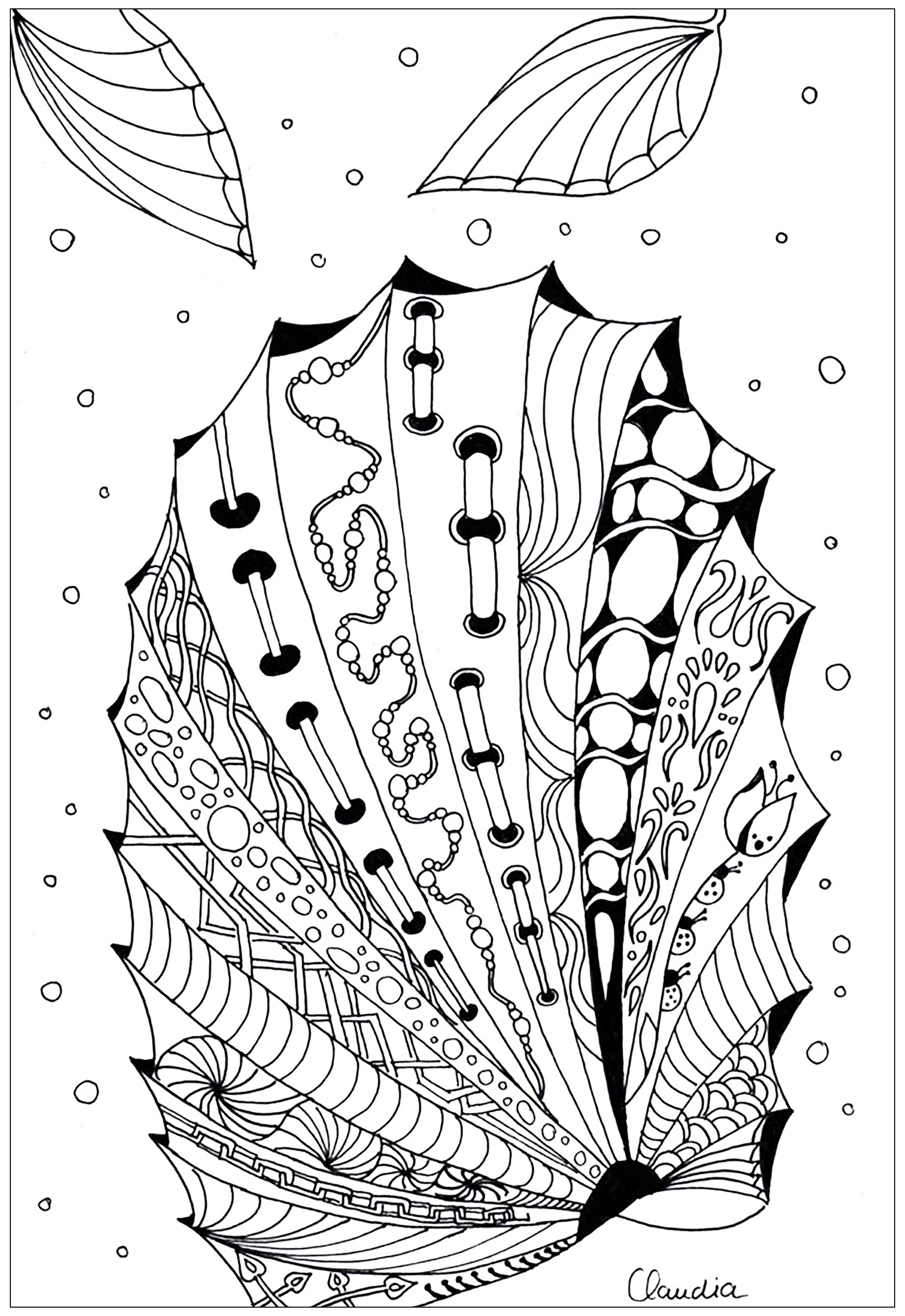Simple Zentangle drawing to print & color - 5