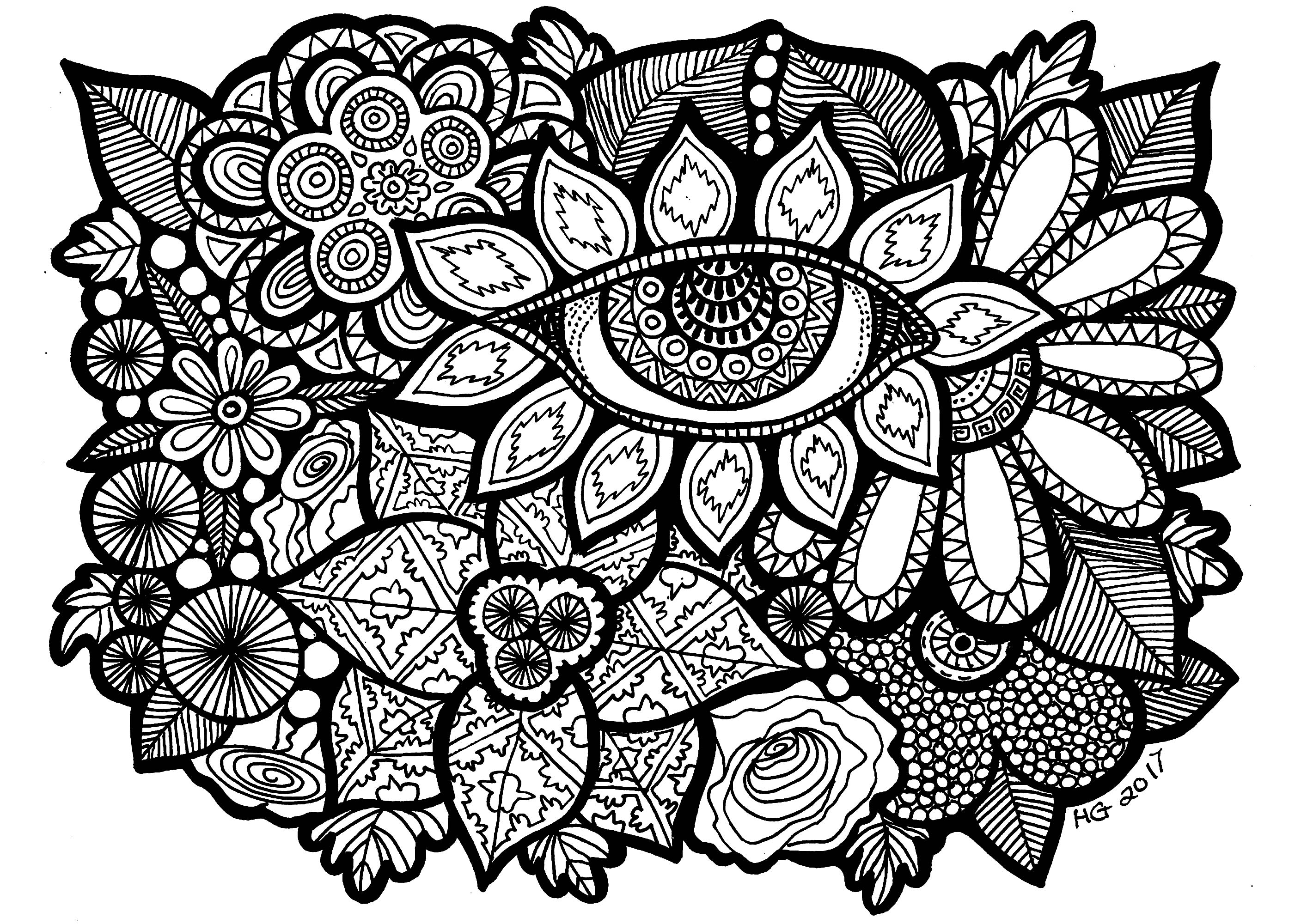 Eye of the garden - Zentangle Adult Coloring Pages