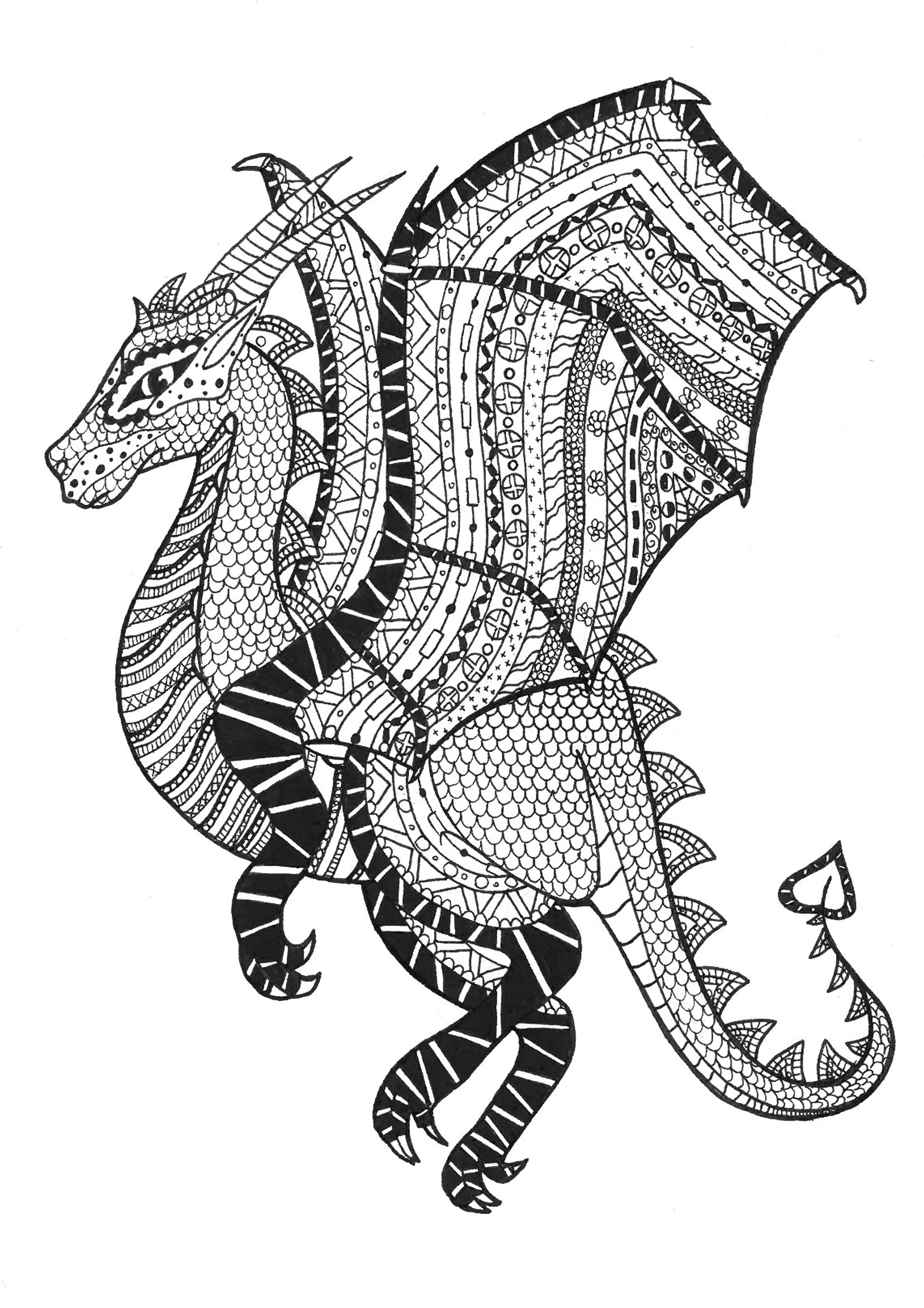 Printable coloring pages zentangle - Coloring Page Adults Dragon Zentangle Rachel Free To Print