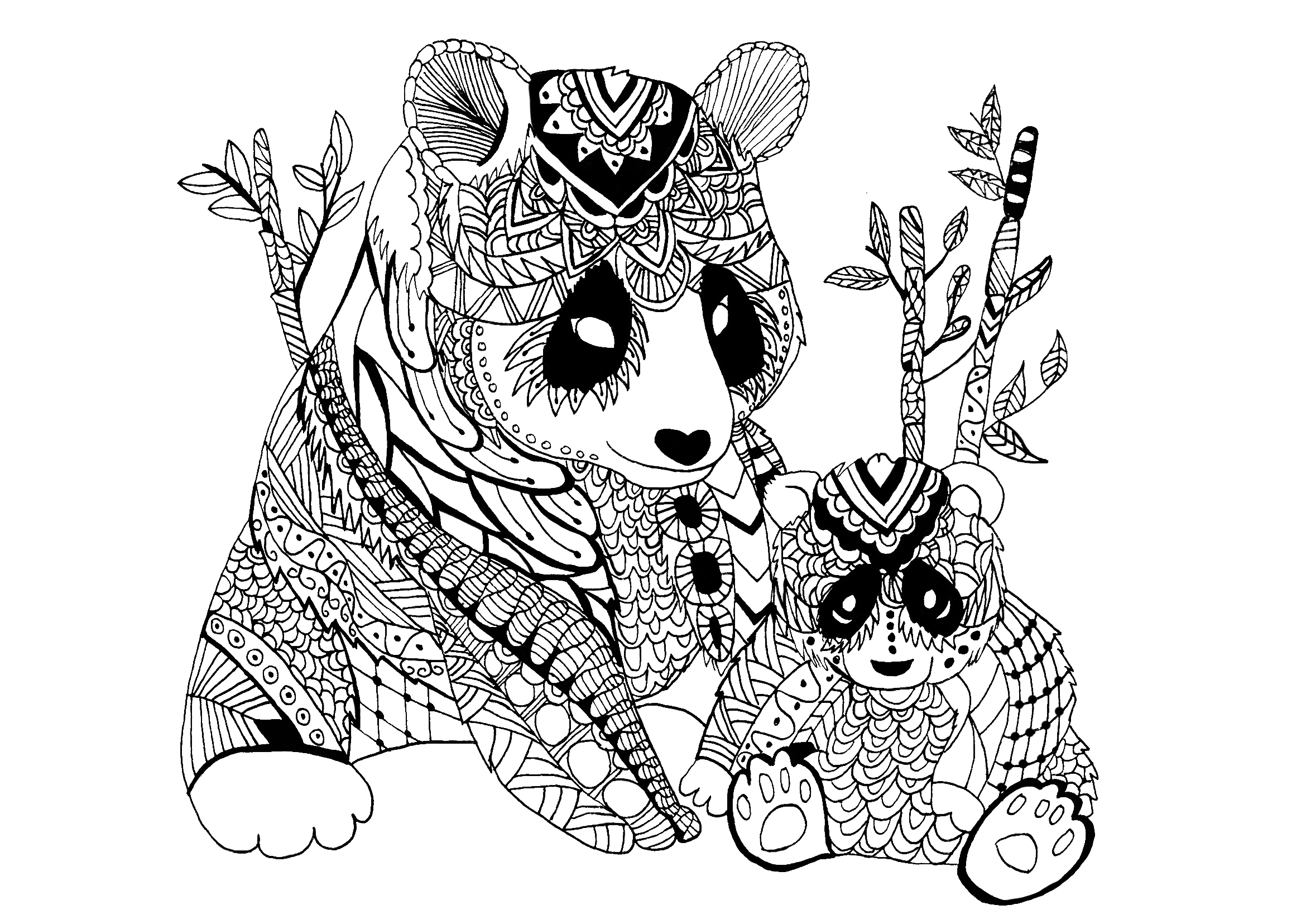 panda mother with baby drawn in zentangle style