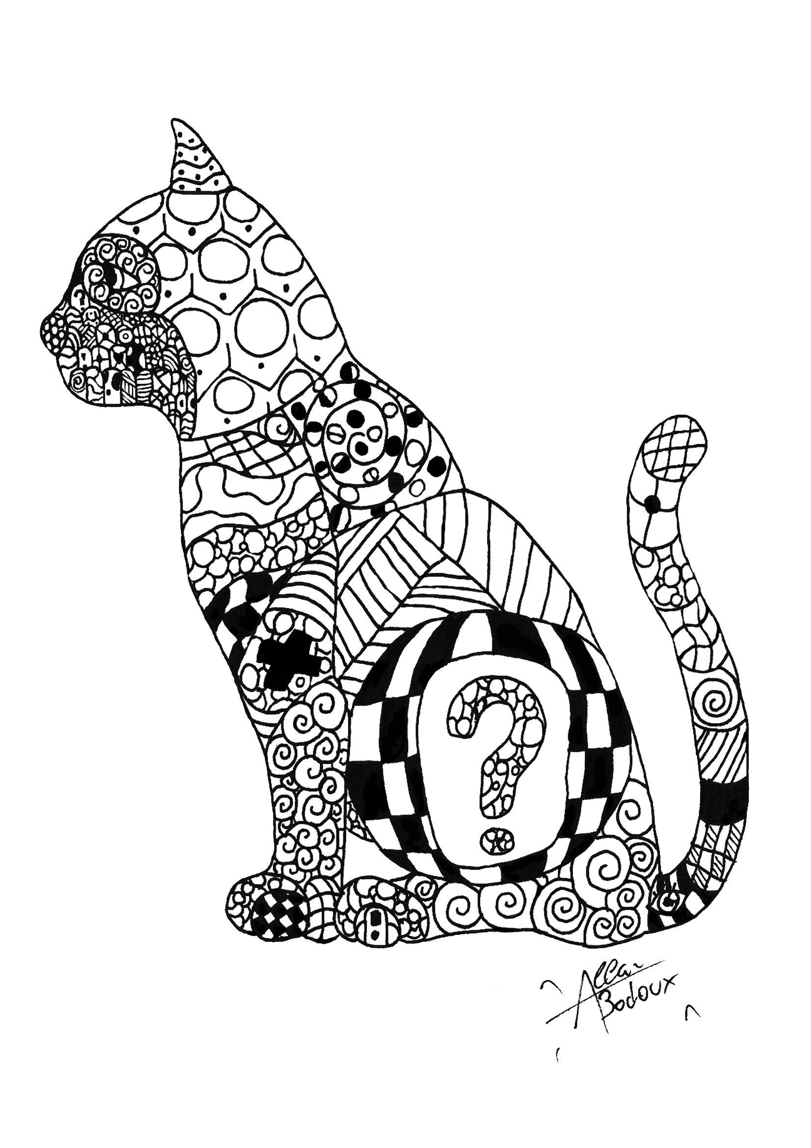 coloring page adults zentangle cat free to print