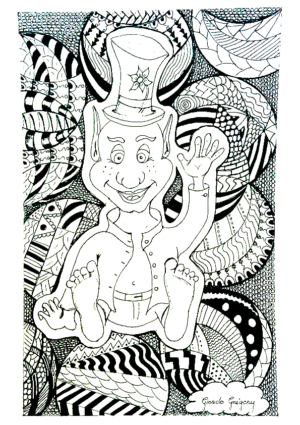 a coloring page with a special zentangle effect proper to the artist from the gallery