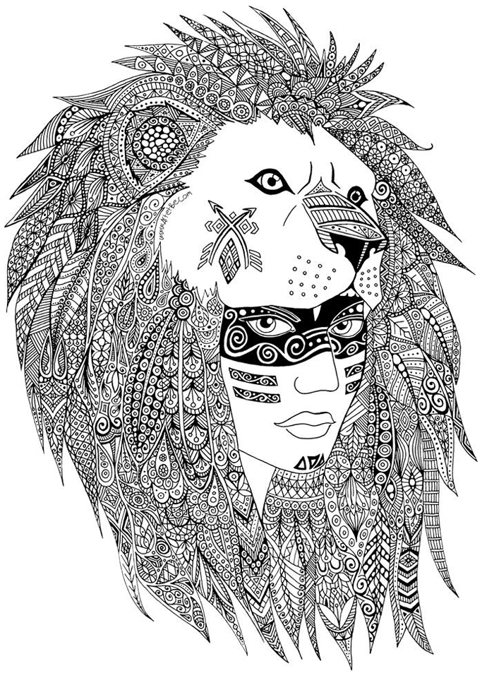 coloring page adults zentangle sabrina a leader of a native american tribe made with hearts and zentangles
