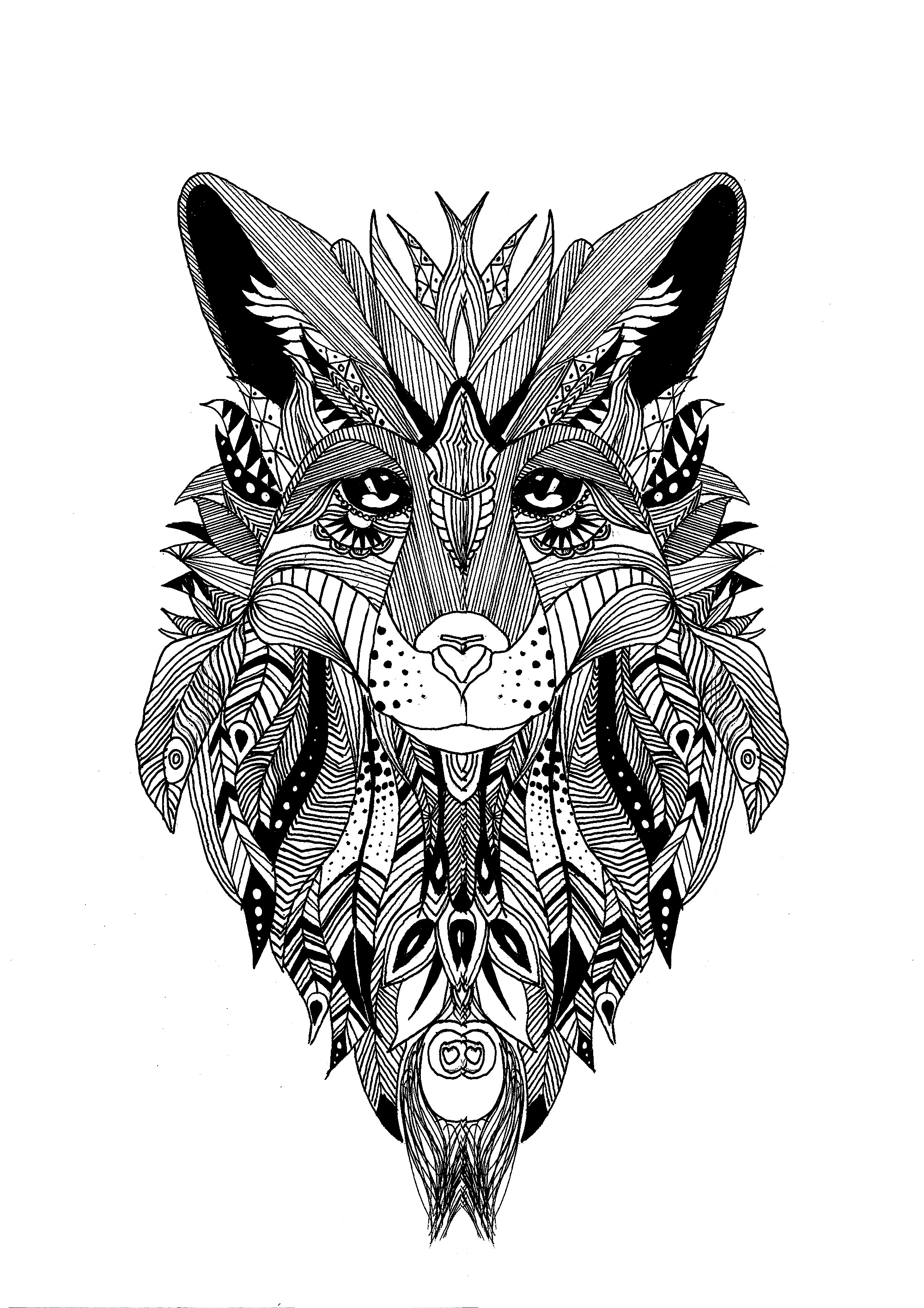 coloring page a wolf drawn with the style of zentangle and some feathers in his fur - Coloring Page A