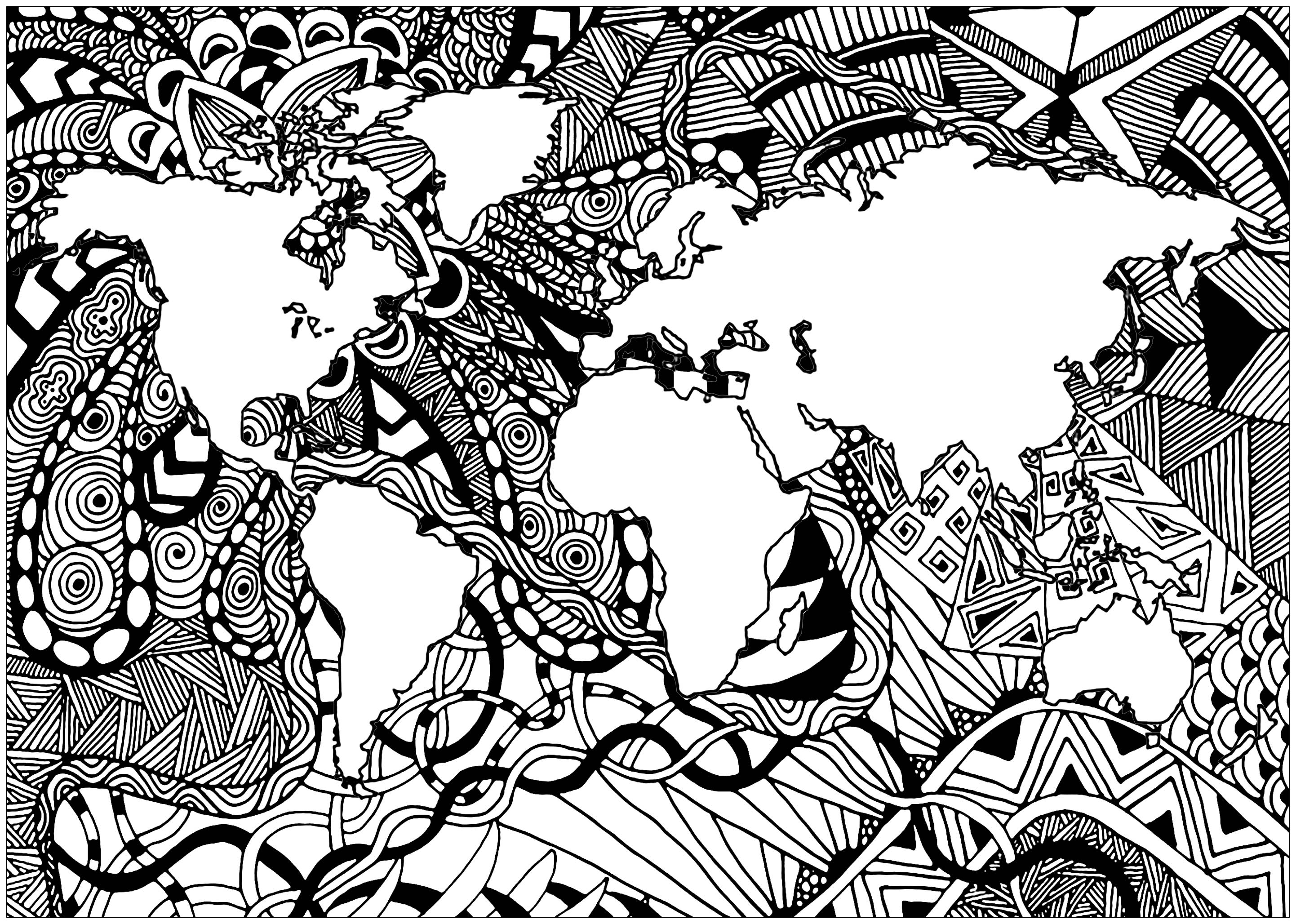 Our planet Earth and its continents, with complex Zentangle patterns outside the lands